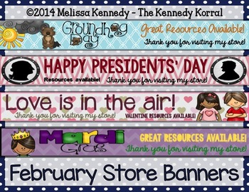 TpT Store Banners BUNDLE {January, February, March, April, May & June}