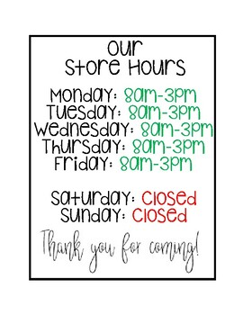 Store Hours Sign for Dramatic Play