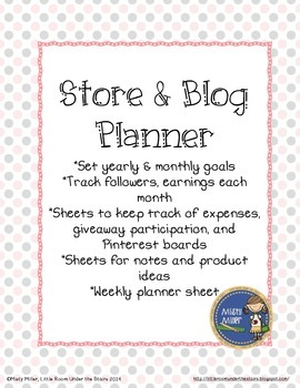 TPT Seller's Store and Blog Planner