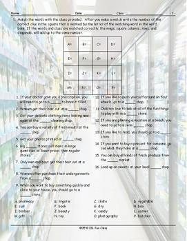 Stores-Shops Magic Square Worksheet