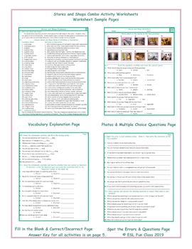Stores and Shops Combo Activity Worksheets