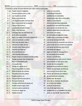 Stores and Shops Sentence Match Spanish Worksheet