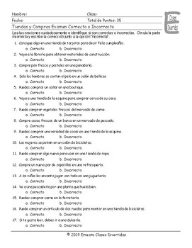 Stores and Shops Spanish Correct-Incorrect Exam