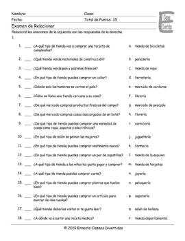 Stores and Shops Spanish Matching Exam