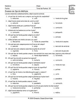 Stores and Shops Spanish Multiple Choice Exam