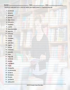 Stores and Shops Translating Spanish Worksheet