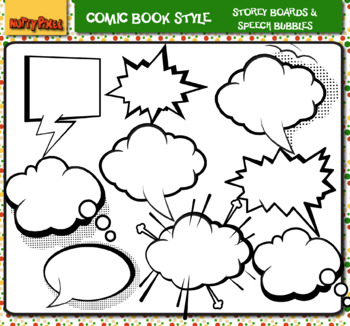Storey Boards & Speech Bubbles -Comic Book Style Clip Art