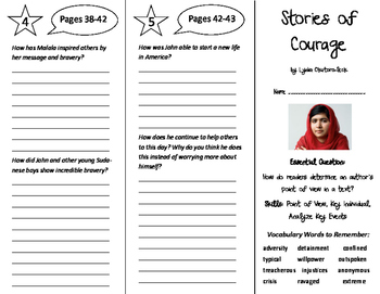 Stories of Courage Trifold - ReadyGen 6th Grade Unit 3 Module A