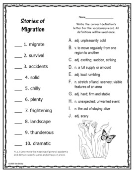Stories of Migration Unit 5 Lesson 22 Vocabulary