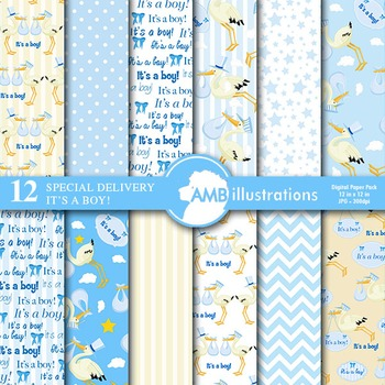 Digital Papers - Stork paper and backgrounds It's a boy! AMB-834