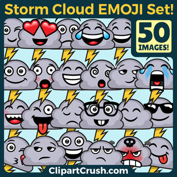 Storm Cloud Emoji Clipart Faces / Stormy Lightning Weather