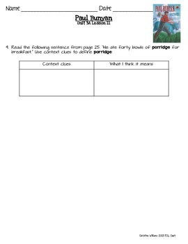 2014 Paul Bunyan Readygen 3rd Grade Unit 3 Module A Lesson 11