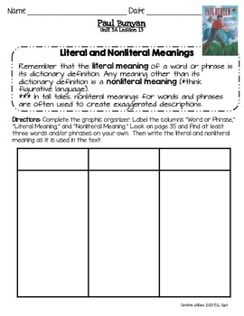 2014 Paul Bunyan Readygen 3rd Grade Unit 3 Module A Lesson 13