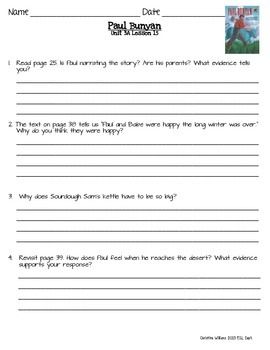 2014 Paul Bunyan Readygen 3rd Grade Unit 3 Module A Lesson 15