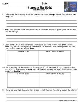 Storm in the Night Readygen 3rd Grade Unit 3 Module A Lesson 7