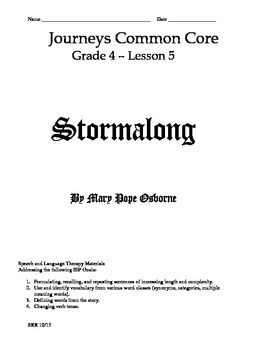 Journeys Common Core 4th - Stormalong Supplemental Packet for the SLP