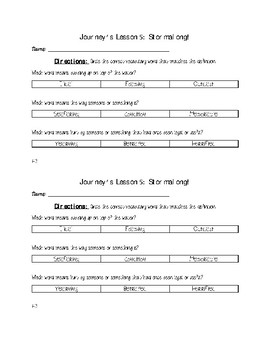 Stormalong Vocabulary Exit Tickets