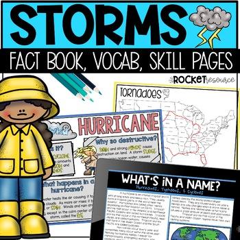 Types of Storms: thunderstorm, windstorm, tornado, winter