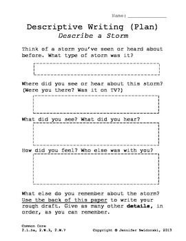 storms descriptive writing planning page graphic organizer tpt storms descriptive writing planning page graphic organizer