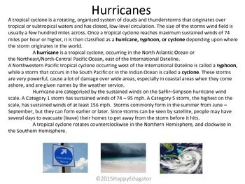 Weather Paired Reading - Hurricanes vs. Tornadoes with Storms Venn Diagram