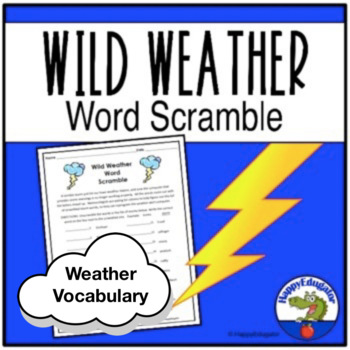Storms Word Scramble Puzzle - Wild Weather Vocabulary Activity