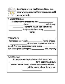 Storms/Extreme Weather Graphic Organizer