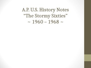 Stormy Sixties PPT AP US History