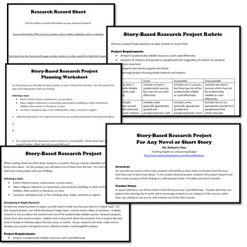Story-Based Research Project, Works with any Novel or Short Story