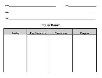Story Board Graphic Organizer