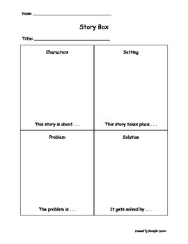 Story Box: Graphic Organizer for Characters, Setting, Problem, Solution