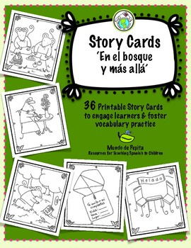 Story Card Set of 36 Printable Story Telling Cards for Spanish Class