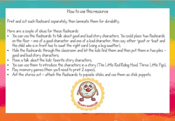 Story Characters - Flashcards and Teaching Ideas {Freebie}
