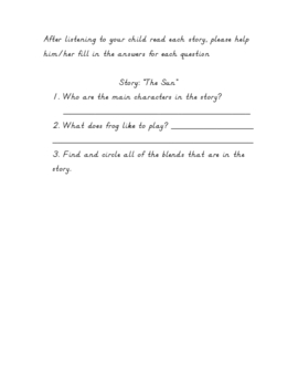 Story Comprehension Packet featuring Blends