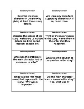 Story Comprehension Question Cards