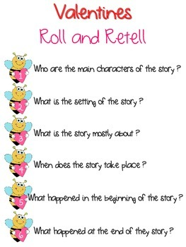 Story Comprehension Roll and Retell Valentine Bee Theme