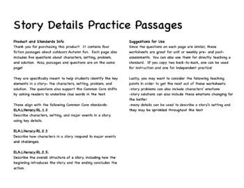 Story Elements Comprehension Passages