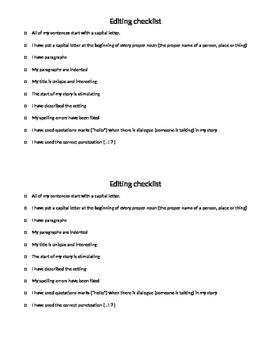 Story Editing checklist