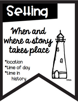 Story Element Banners Nautical Theme ~Black & White~ For Easy Printing