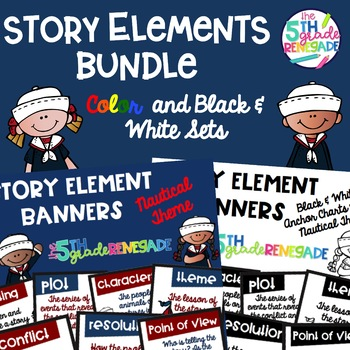 Story Element Banners Nautical Theme Combo  ~Black & White and Colored~