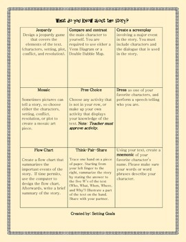 Story Element Choice Board (Differentiation)