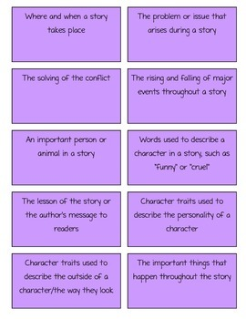 Story Element Flash Cards