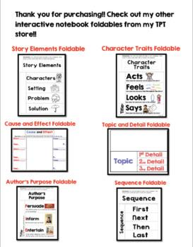 Story Element Foldable