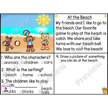 Kindergarten Story Element Worksheets-Set 3