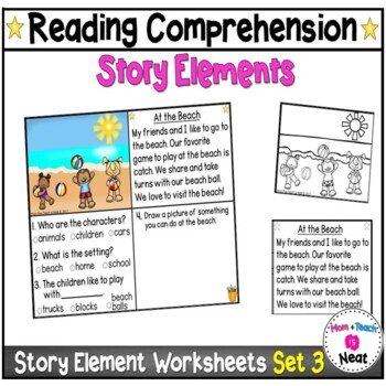 Kindergarten Story Element Worksheets-Set 3