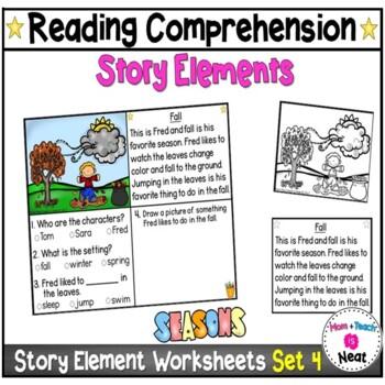 Kindergarten Story Element Worksheets-Set 4 (Seasons)