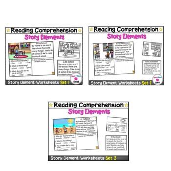Kindergarten Story Element Worksheets Bundle- Sets 1, 2, 3, & 4