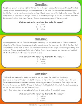 Story Elements Task Cards Game {Character, Setting, Problem, Solution, or Theme}