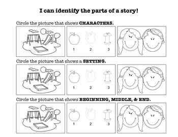 Story Elements Assessment (Character, Setting, and Beginning, Middle, & End)