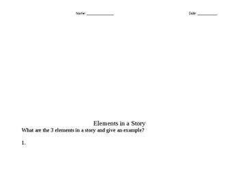 Story Elements Assessment/Worksheets