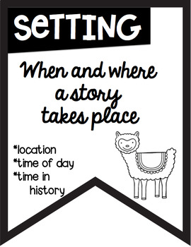 Story Elements Banners Black & White for Easy Printing Llama Alpaca Theme